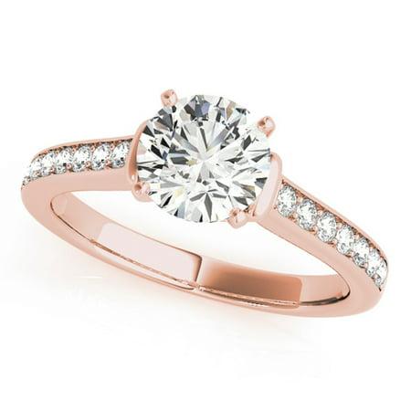 0.75 Ct Diamond Brilliant Round Cut Engagement Wedding Ring In 14K Rose Gold (Brilliant Cut Rose Gold Ring)