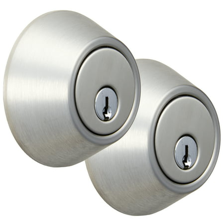 Hyper Tough Single Cylinder Deadbolt, Stainless Steel Finish, Two Pack
