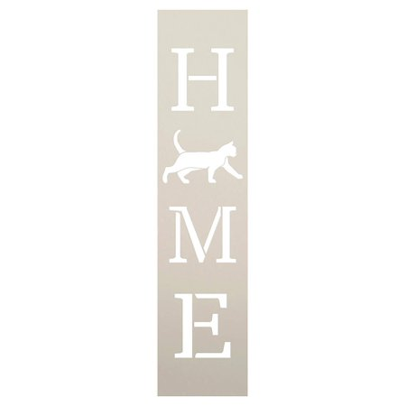 Home with Cat - Vertical Stencil by StudioR12 | Reusable Mylar Template | Use to Paint Wood Signs - Pallets - Banners - DIY Animal Lover Home Decor - Select Size (2.5