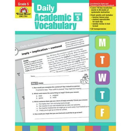 Evan-Moor Daily Academic Vocab Grade 5 Book