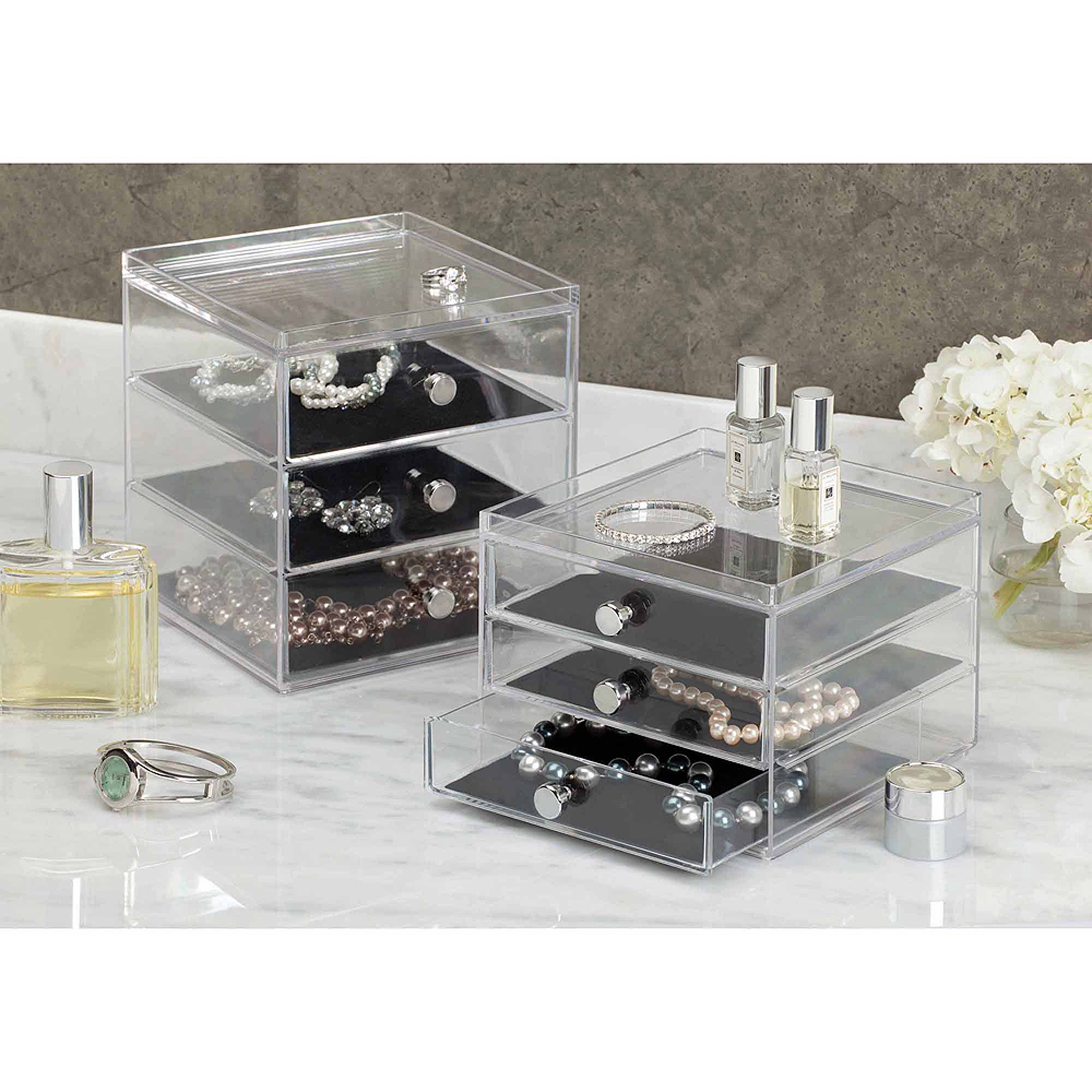 InterDesign Clarity Fashion Jewelry Organizer for Rings Earrings