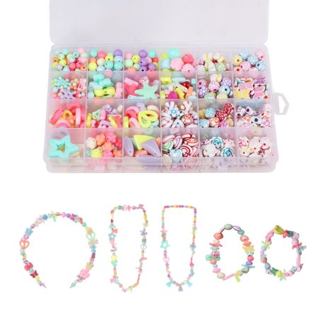 Children Jewelry Making Kit DIY Box/Set, MINI-FACTORY Necklace, Bracelet Crafts, Different Shapes of Colorful Acrylic Beads