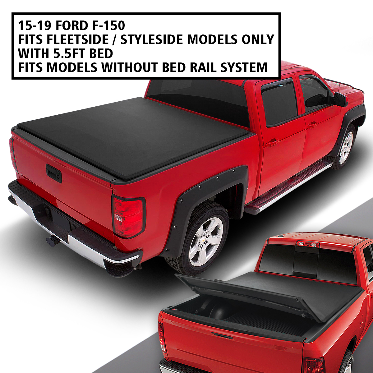 For 2009 2019 Dodge Ram 1500 2500 3500 6 4 6 5 Bed Tri Fold Soft Tonneau Cover