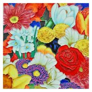 Continental Art Center Art Tile - Colorful Multiple Flowers