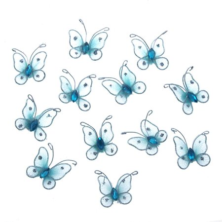 Organza Nylon Glitter Butterflies, 1-inch, 12-Piece, Light Blue