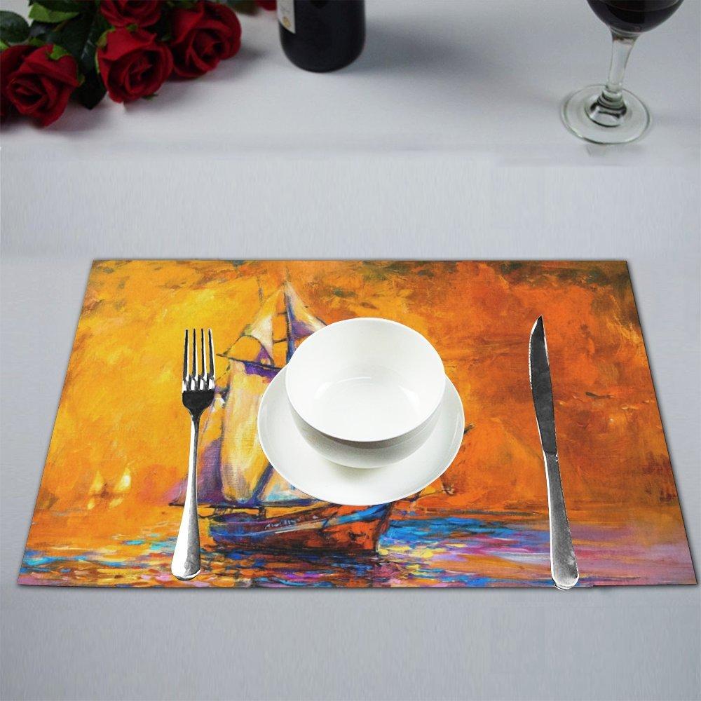 Mkhert Abstract Nautical Sailboat Painting Placemats Table