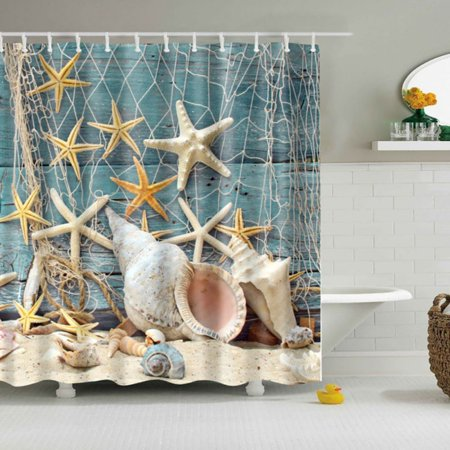 CHLTRA Waterproof Bathroom Curtains Mold Resistent Beach Seashells Starfish Solid Print Bath Shower Curtain