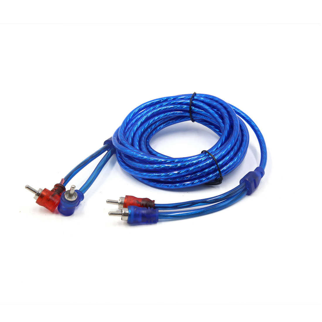 Blue 14.7 Ft Length Double Shielded Car RCA Stereo Audio