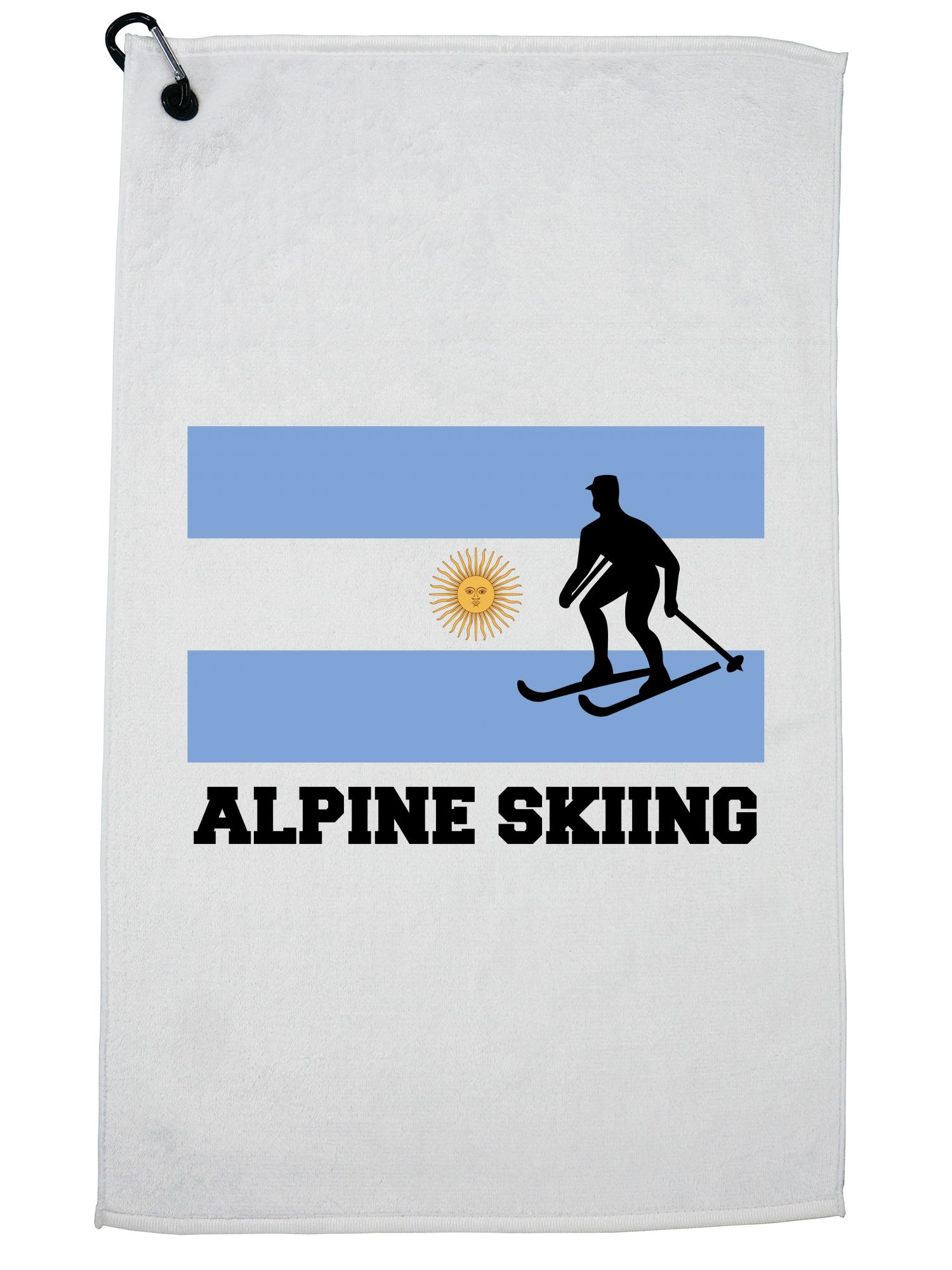 Argentina Olympic Alpine Skiing Flag Silhouette Golf Towel with Carabiner Clip by Hollywood Thread