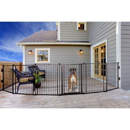 (Carlson 144-Inch Super Wide Heavy Duty Gate and Pet Pen, Includes Walk Through Door and Mounting Hardware)
