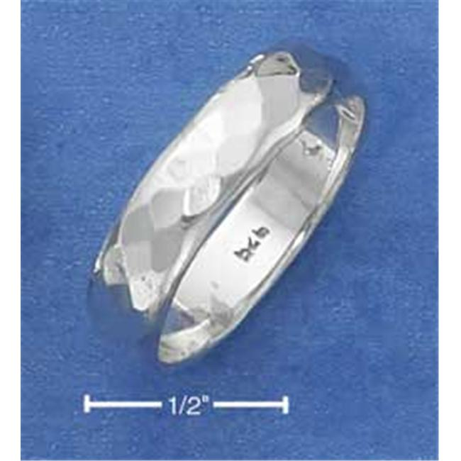 Plum Island Silver SR-2338-09 Sterling Silver 5mm Hammered Wedding Band Ring - Size 9