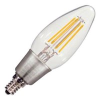 Satco 09570 - 4.5 watt 120 volt C11 Candelabra Screw Base 2700K Warm White Clear Dimmable Filament LED (4.5W CTC/LED/27K/120V S9570)