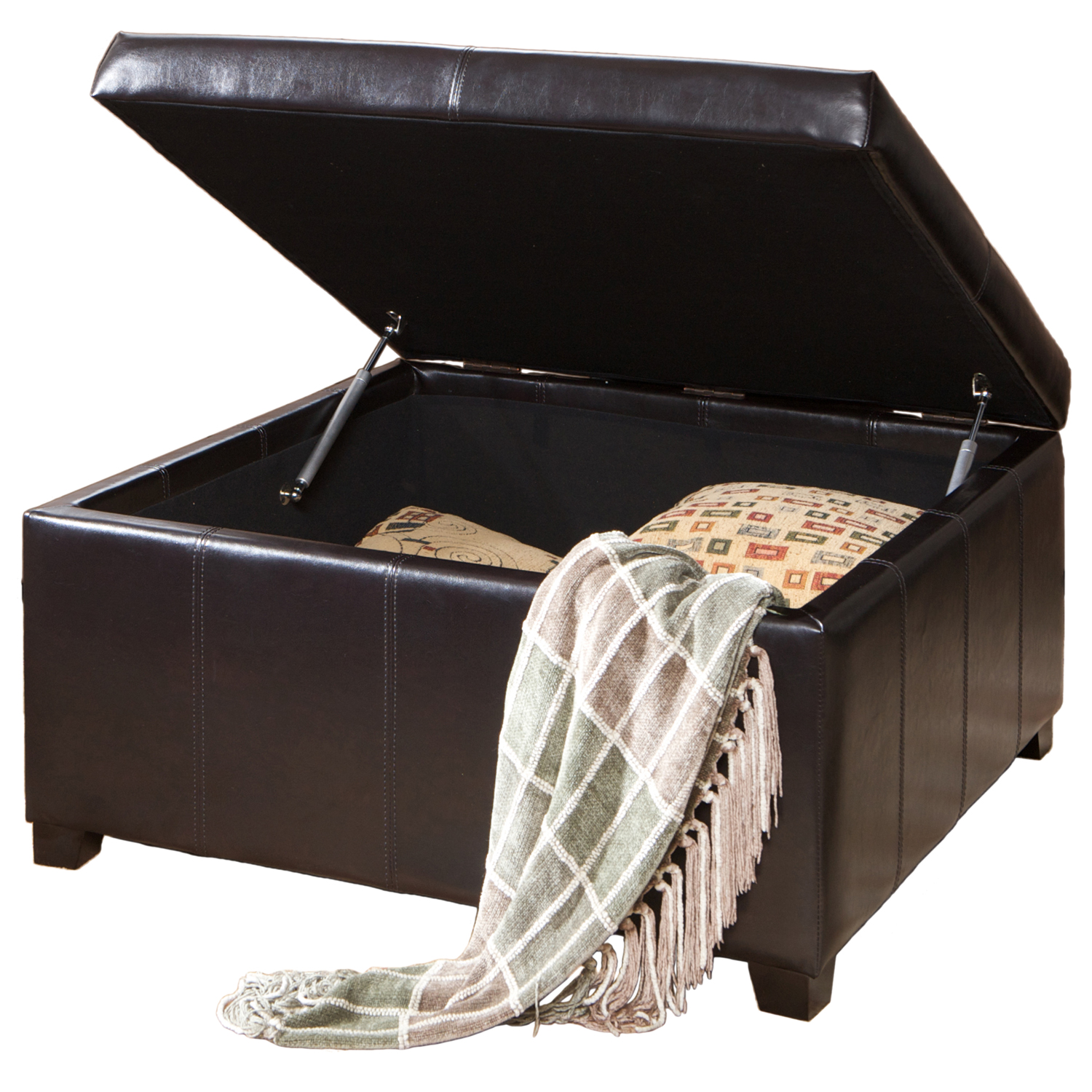 Forrester Espresso Bonded Leather Square Storage Ottoman