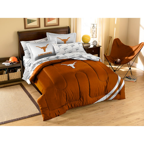 NCAA Applique Bedding Comforter Set with Sheets, University of Texas