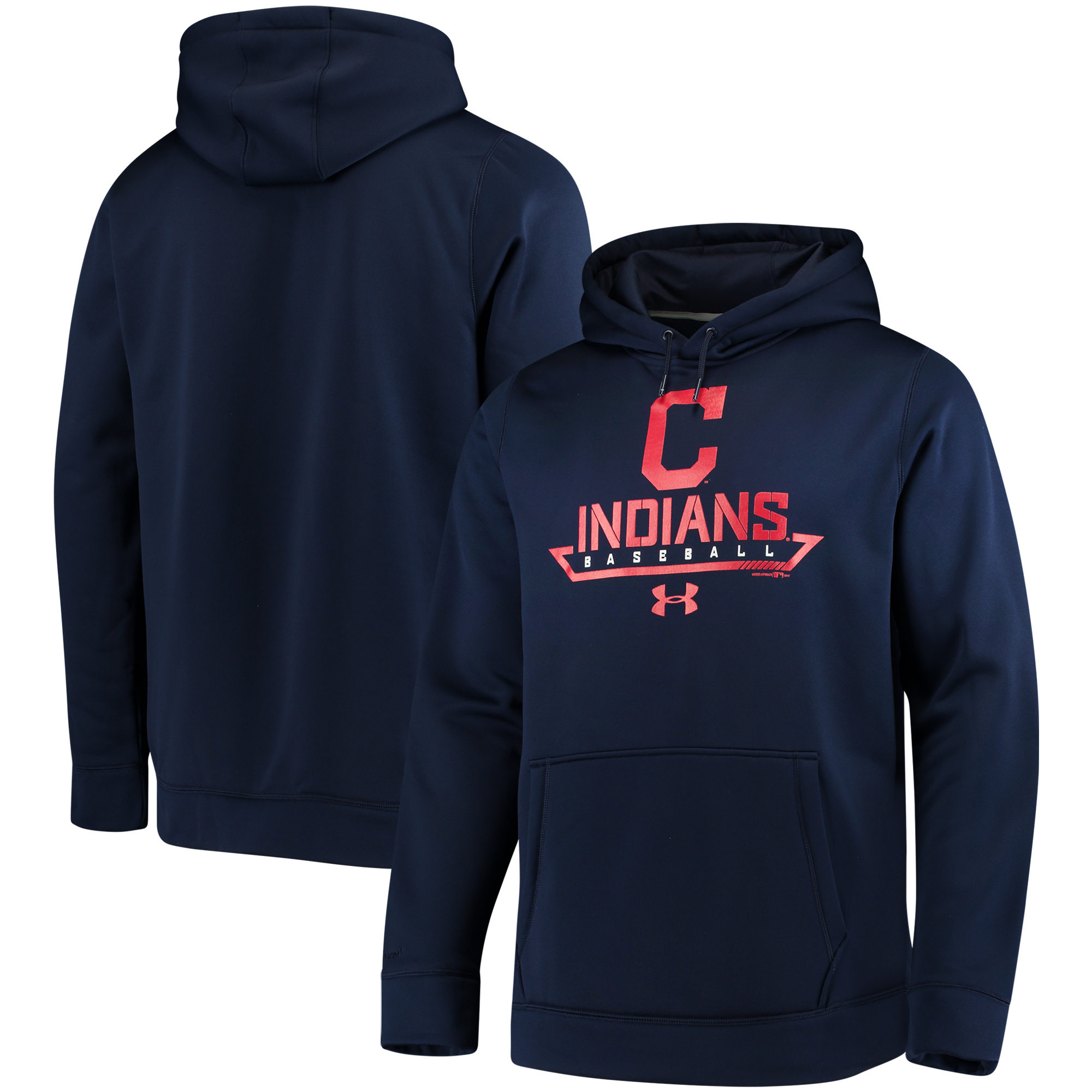 Cleveland Indians Under Armour Performance Fleece Pullover Hoodie - Navy