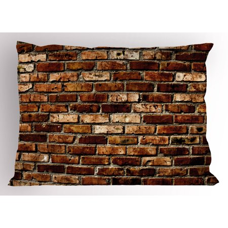 Brown Pillow Sham Old Grunge Brick Wall Aging Construction Rustic Home Structure Dirty Facade, Decorative Standard Size Printed Pillowcase, 26 X 20 Inches, Brown Chesnut Brown, by