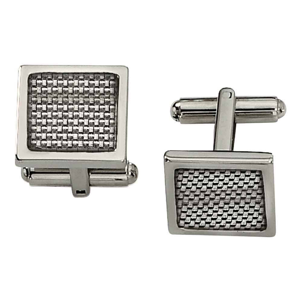 Primal Steel Stainless Steel Polished w/Grey Carbon Fiber Inlay Cuff Links