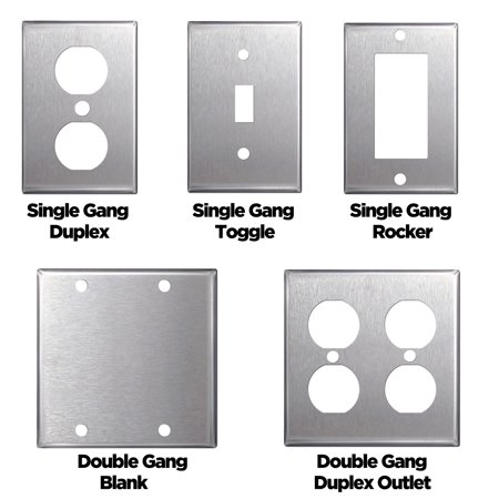 5 PACK Stainless Steel Wall Plates Light Switch Covers - Blanks, Toggle, Rocker, Duplex