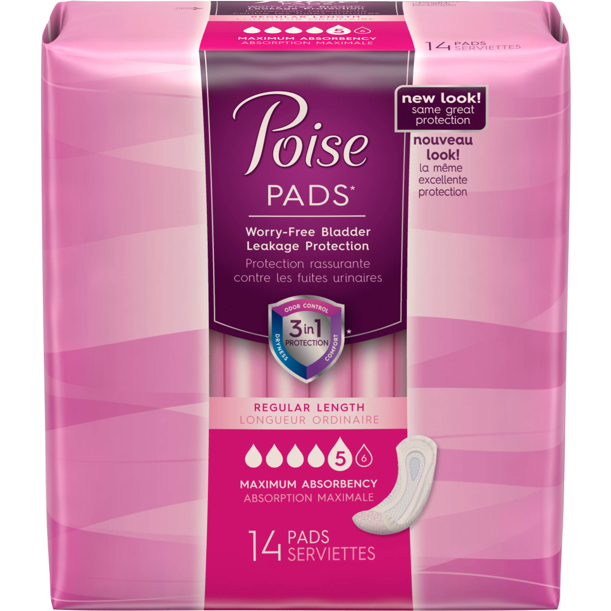 Poise Incontinence Pads, 14 count