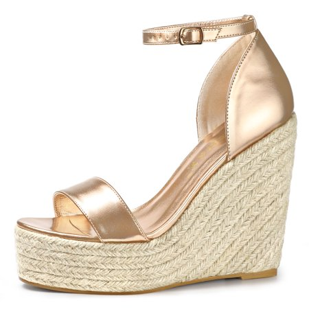 Women's Espadrille Wedges Platform Sandals Rose Gold US 10 - image 5 of 7