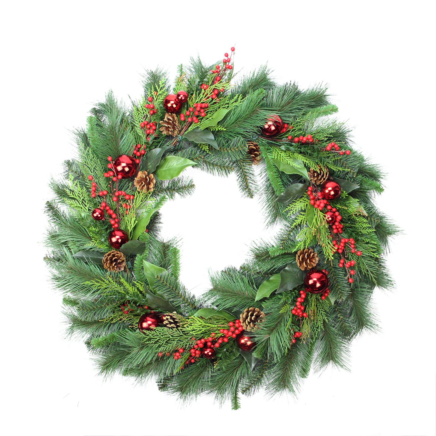 "36"" Mixed Hampton Pine Cone, Berry and Red Ball Ornament Artificial Christmas Wreath - Unlit"
