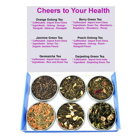 Genmaicha Green Tea - Tea Sampler - Green Tea - Caffeinated - Gift Box - Oolong - Jasmine Tea - Berry - Peach - Orange - Genmaicha Tea - DaJeeLing Tea - Loose Tea