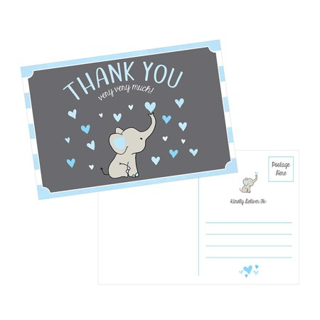 50 4x6 Elephant Boy Baby Shower Thank You Postcards Bulk, Beautiful Modern Cute Boho Blue Blank Thanks Note Card Stationery Appreciation Set