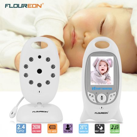 Lcd Wireless Baby Monitor - FLOUREON Digital Wireless 2.4 GHz Baby Monitor Infant IR LCD Video Nanny Security Camera Temperature Display 2 Way Talk Night Vision Lullabies Radio