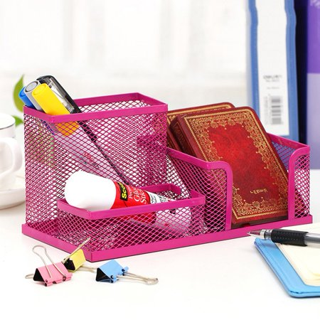 Swell Pro Space Multifunctional Pencil Holder For Desk Organizer Mesh Office Sticky Note Business Card Holder 3 Scetion Rose Red Home Interior And Landscaping Sapresignezvosmurscom