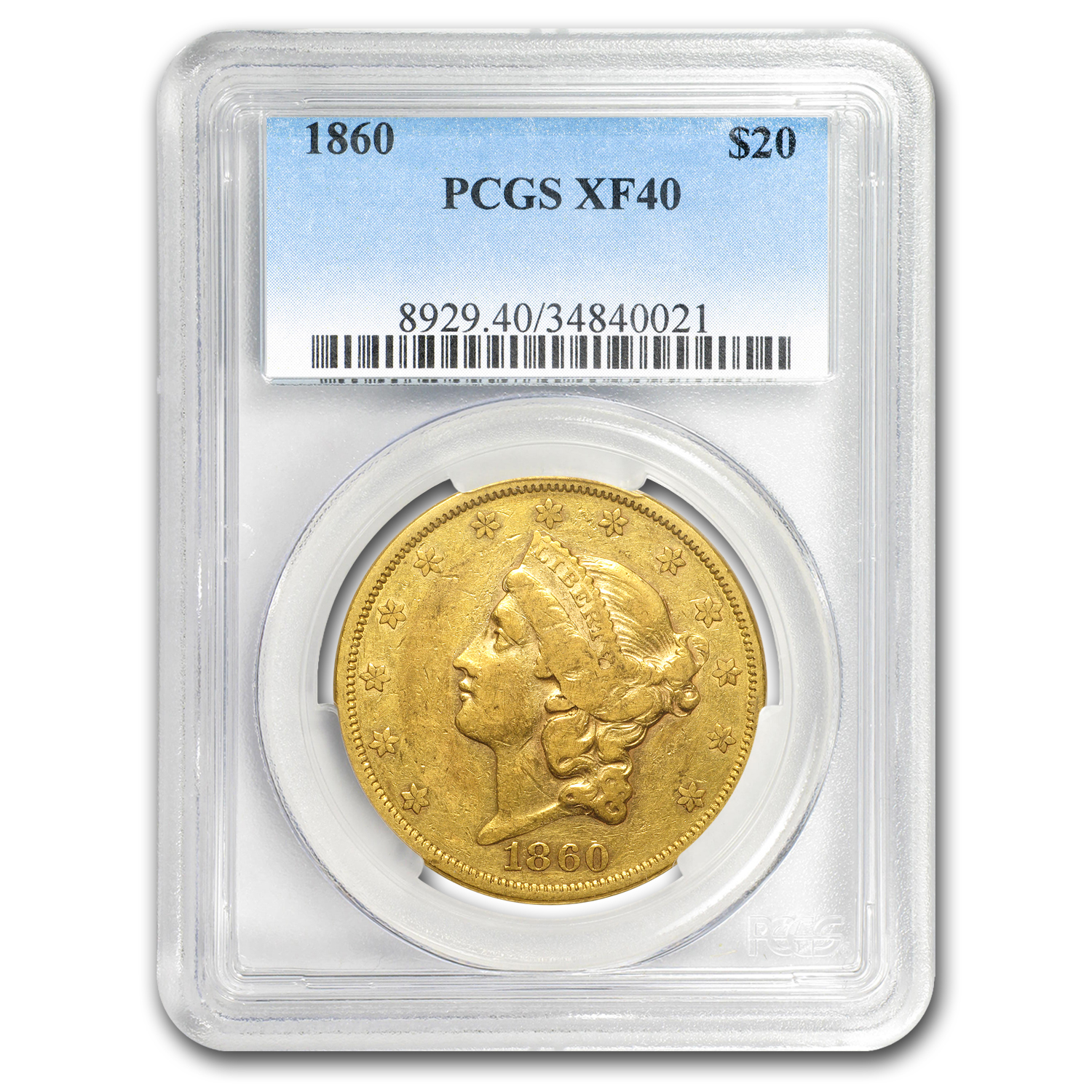 1860 $20 Liberty Gold Double Eagle XF-40 PCGS