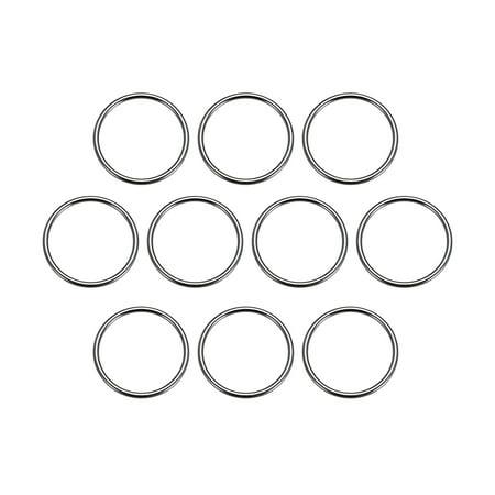 10 Pcs O Ring Buckle 1.6 Inch Metal Circular O-Ring Black for Hardware Bags Belts Craft DIY