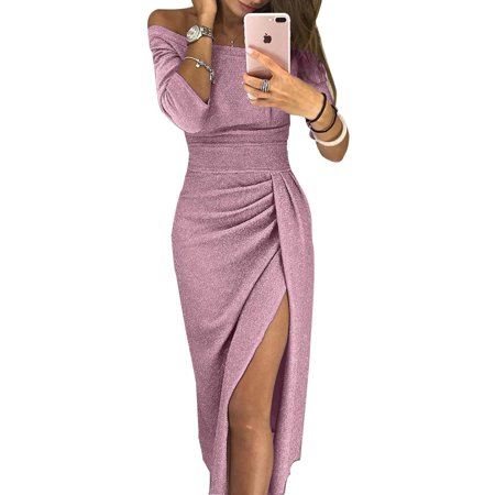 Clothes for Women on Clearance, Women's Elegant Cocktail Maxi Dress for Women, 3/4 Sleeve Off The Shoulder Slit Evening Party Midi Dress for Ladies, Long Maxi Dress Gown with Slit for Juniors