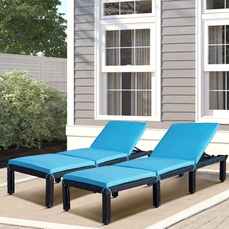 Outdoor Chaise Lounger, Set of 2 Patio Chaise Lounge Chairs Furniture Set with 7 Reclining Positions, All-Weather Reclining Lounge Chair with Cushion for Beach, Backyard, Porch, Garden, Poolside,L4551