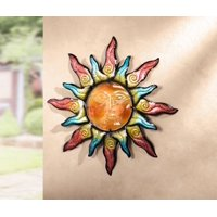 Product Image Colorful Swirling Sun Indoor Outdoor Metal Wall Art With Gl