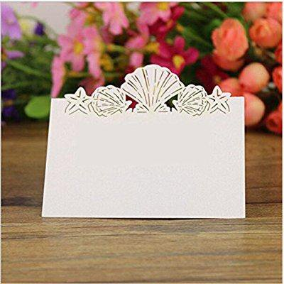 joyjuly pack of 50 beach themed wedding place card seashell table