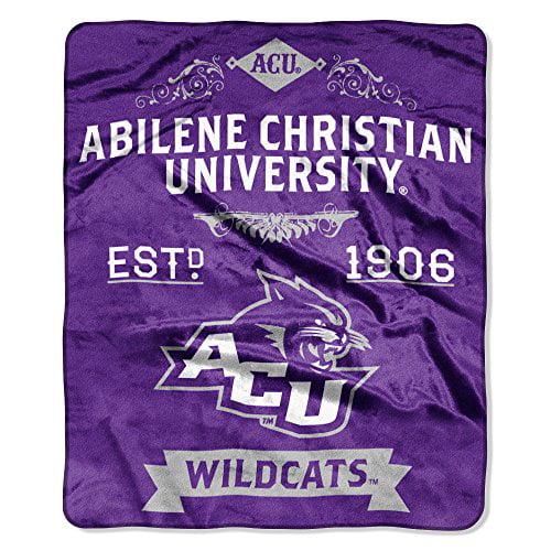 """NCAA Abilene Christian Wildcats Plush Raschel Throw Blanket, Purple, 50 x 60"""