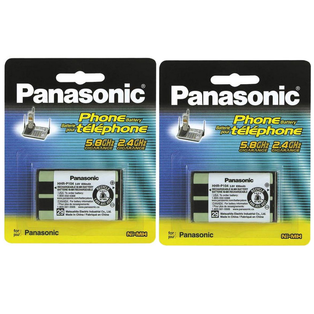 (2 PACK) Panasonic Cordless Telephone Battery (HHR-P104A)