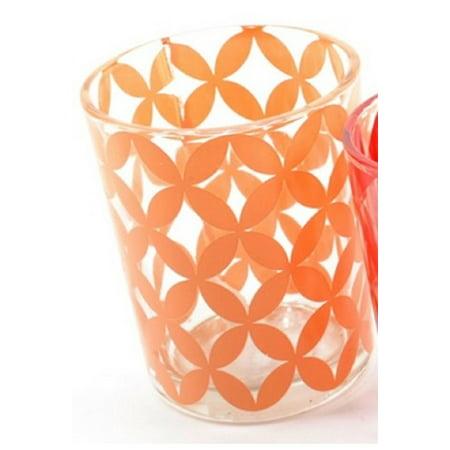 "Basic Luxury Peach Melba Floral Motif Glass Tea Light Candle Holder 2.5"""