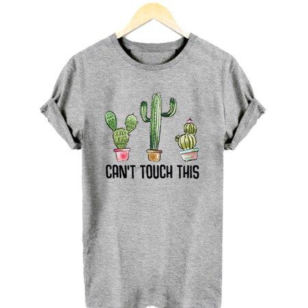 742e0231f Fancyleo - Three Cactus Novelty Printed Round Neck Short Sleeve T-Shirt  Women's Summer - Walmart.com