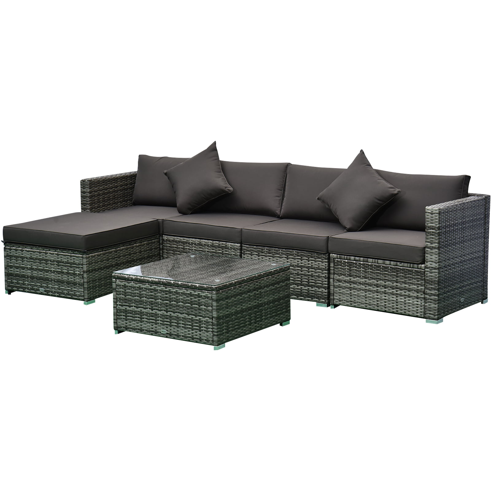 Outsunny 6-Piece Outdoor Patio Rattan Wicker Furniture Set ...