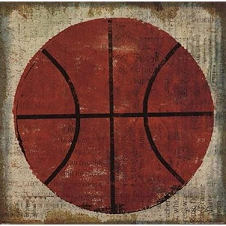 - Buyartforless Ball II (Basketball) by Jo Mullan 12x12 Art Print Poster Kids Boys Room Sports