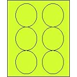 """3 1/3"""" Round Fluorescent Chartreuse Labels for Laser Printers, Inkjet Printers or Copier Machines. (GLC330FCH)"""