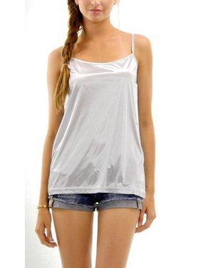 [Shop Lev] Women's Basic Satin Full Slip Top Camisole (MOCHA, X-LARGE)