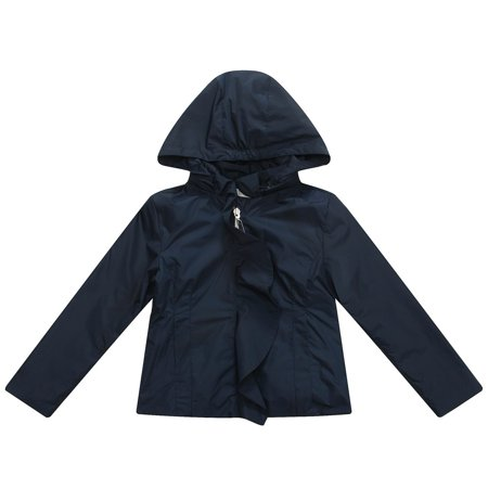 Richie House Little Girls Navy Solid Colored Ruffle Detail Hooded Coat 1-6