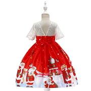 Toddler Kids Baby Girls Santa Print Princess Dress Christmas