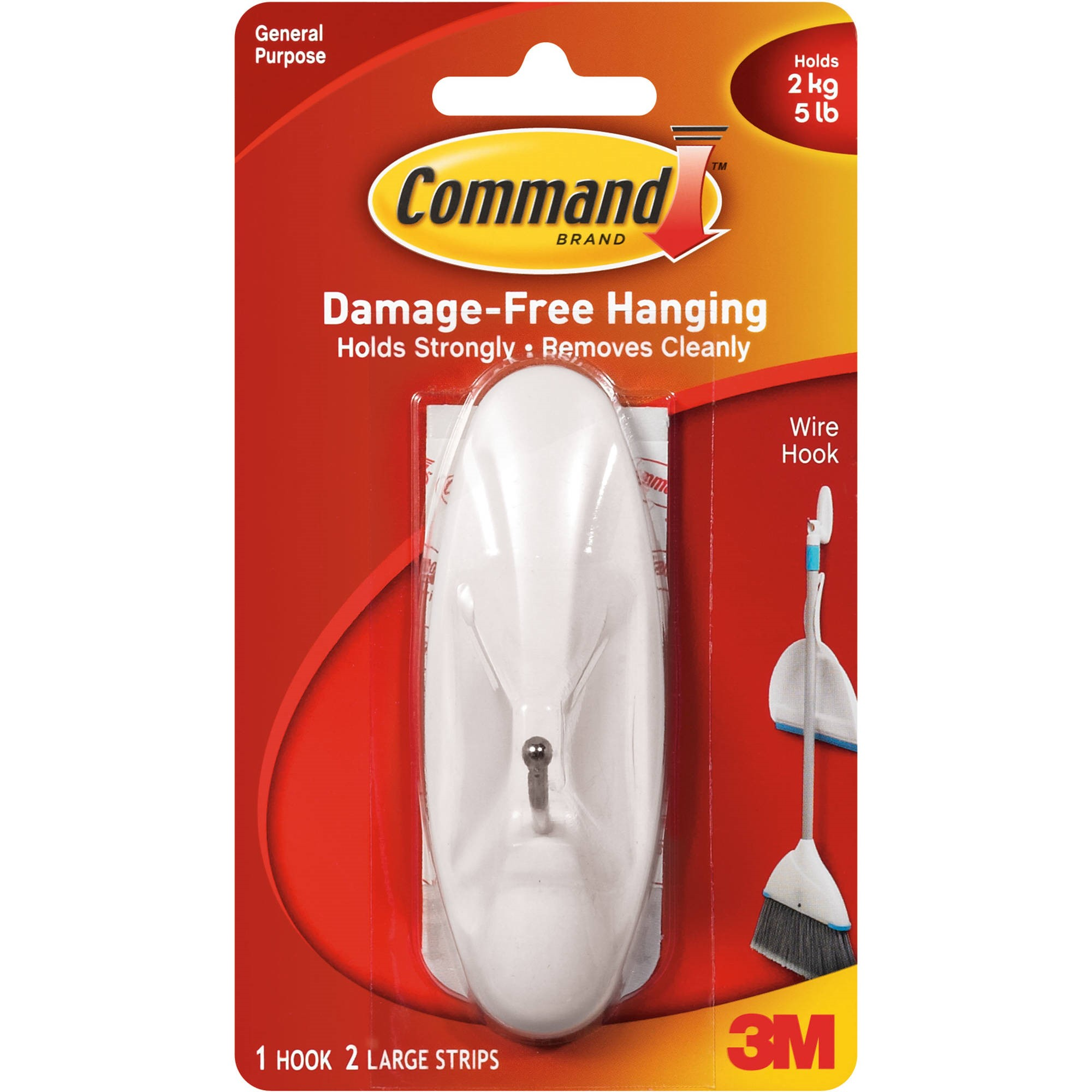 Command Wire Hook, White, Large, 1 Hook, 2 Strips/Pack