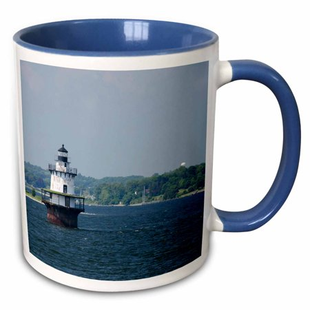 3dRose USA, Rhode Island, Bristol, Sakonnet River. Hog Island Shoal Light. - Two Tone Blue Mug, - Bristol Mug