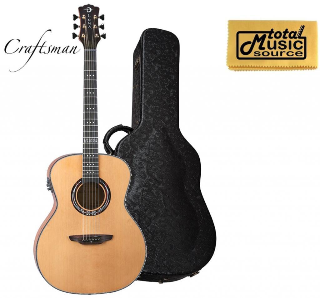 Luna Guitars Art Craftsman A/E Guitar, Solid Cedar Top, ART CRAFTSMAN HSDG