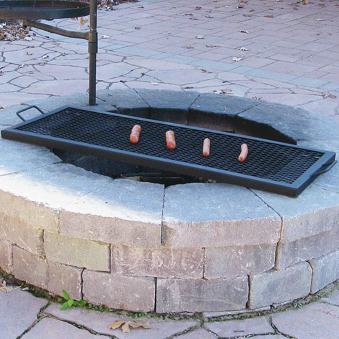 Sunnydaze X Marks Rectangle Fire Pit Cooking Grill Steel Black - Choose Size