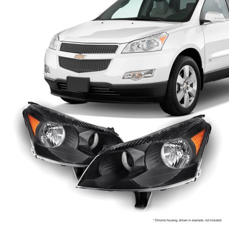 [Black] Fits 2009 2010 2011 2012 Chevy Traverse LH + RH Headlights Front Lamps ()